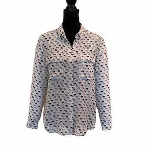 Club Monaco 100% silk button front blouse medium